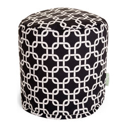 Majestic Home - Outdoor Black Links Small Pouf - A little pouf can go a long way in your home, serving in a pinch as a footrest, stool or impromptu side table. This cute and casual beanbag pouf is designed to be adaptable to your life; it's soft and easy to move around wherever it's needed, and the cover can be removed for cleaning up spills and smudges. It has a fresh, modern print to add some color to your space, and it's even safe for outdoor use.