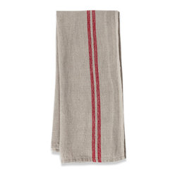 Origin Crafts - Khadhi vintage linen tea towels (red), set of 2 - Khadhi Vintage Linen Tea Towels (Red), Set of 2 Because Khadhi linen fabric is entirely handmade ? from the spinning to weaving stage, it has a natural, earthy look and feeling. At the same time, it?s understatedly chic and these Khadi tablecloths, napkins and handkerchiefs are perfect for outdoor dining, complementing a rustic breakfast table or contrasting and softening a modern dining room setting. A Caravan exclusive. Each 100% linen tea towel is entirely handmade and yarn dyed for a natural texture. Easy care and practical: machine washable, ironing is optional. Dimensions (in):20x30 By Couleur Nature - Couleur Nature is a wholesaler of fine, French-inspired Indian woodblock-printed and vintage linens. Couleur Nature?s linens and home accessories are versatile and can be used for formal or casual table settings year-round, as well as the every day. Their distinct but wide appeal makes them ideal for almost any occasion, decor or personal style. Usually ships in three business days. Our linens are handmade: slight variations are natural and make each piece unique.
