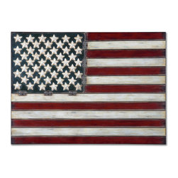 Iron American Flag Wall Decor - *Made of hand forged metal, this wall art is finished in aged red, white and blue with black tipping.