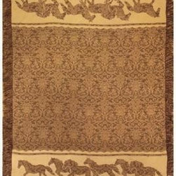 Brown / Tan Horse Mosaic Rayon Throw Blanket 50 Inch X 60 Inch - This brown and tan rayon throw blanket is the perfect decor accessory for your jungle themed room. The blanket measures 50 inches wide, 60 inches long, and has approximately 1 1/2 inches of fringe around the border. It has a mosaic print in the center, with rows of running horses on the ends. Care instructions are to machine wash in cold water on a delicate cycle, tumble dry on low heat, wash with dark colors separately, and do not bleach. This comfy blanket makes a great housewarming gift that is sure to be loved.