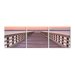 "Baxton Studio - Baxton Studio Pier Sunset Mounted Photography Print Triptych - The entirety of the bay takes on a peaceful pink hue as the sun dips down under the horizon for the day. Printed on waterproof vinyl canvas and adhered to MDF wood frames, this tranquil photograph is divided into three for display together as a triptych. The image set is printed and manufactured in China, is fully assembled and ready to hang, and does not include mounting hardware. To clean, we recommend dry dusting.Dimensions (each): 20"" H x 20"" W x 1"" D"