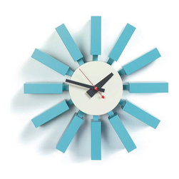"George Nelson Block Clock - This iconic little Nelson clock has such a fun shape and color, I think of it as ""George Nelson goes Miami."""