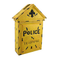 Yellow Metal Police Telephone Box Wall Art Letter Box - This old fashioned letter box adds a neat accent to your home or office. Made of metal, it measures 14 1/2 inches tall, 9 1/2 inches wide, and 3 3/4 inches deep. It has a slot on the top for pieces of mail, customer comment cards, or employee suggestions, and has a piece that slides open on the bottom to retrieve the letters or cards. It has a wonderful distressed finish, making it look antique, and is sure to be admired.
