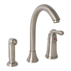 PREMIER - Sanibel Lead-Free Widespread Single-Handle Kitchen Faucet with Matching Spray - Refresh your kitchen decor with Premier Sanibel's single-handle kitchen faucet with a matching side sprayer. The cathedral-style, high-arc spout adds a dramatic visual impact and provides exceptional height and coverage. Premier's ceramic disc cartridge prevents hard water buildup and offers consistent, leak-free performance. Add an optional soap dispenser (Premier 552029, sold separately) for four-hole sink applications. This Sanibel kitchen faucet features a single lever handle for precise temperature and volume control, lead-free brass construction, a flow rate of 2. 2 gallons per minute, a brushed nickel finish, and a color matched sprayer with a 48-inch reinforced hose. It complies with the requirements of the Uniform Plumbing Code and the Americans with Disabilities Act. It is covered by Premier's industry-leading Limited Lifetime Warranty. This faucet has been certified to meet the strict lead-free standards of California and Vermont.
