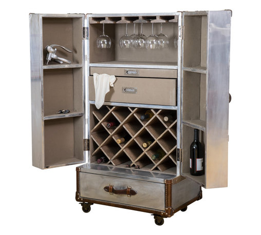 Great Deal Furniture - Leandro Rolling Storage Steamer Wine Cabinet - The Leandro Rolling Wine Cabinet offers a sleek and sophisticated solution to all of your bottle storage needs. Built with aluminum sheet and top grain leather, this cabinet opens to reveal an organized interior space containing different shelving options for multiple uses. The entire piece is built on black wheels for easy mobility. Inspired by vintage design, this wine cabinet exudes a traditionally trendy feel with attention to detail, making for an impressive and functional piece.