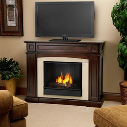 """Real Flame - Rutherford Ventless Gel Fireplace in Dark Mah - Solid wood and veneered MDF construction.. Shelf dimensions:13.75"""" x 5.5"""". Includes: MDF mantel, firebox, hand painted cast concrete log and screen kit.. Uses Only Real Flame 13oz Gel Fuel Cans, not included. Uses clean burning Real Flame Gel fuel emitting up to 9,000 BTUs of heat per hour lasting up to 3 hours. Assembly Required. 46.5 in. W x 16 in. D x 37.5 in. H (127 lbs.)Disguised as a standard TV supporting mantel; with it's contrasting arched center panel, detailed recesses, and prominent profile - one would almost never guess that the Rutherford is hiding storage space for a multitude of media. A magnetically secured, flip down door easily opens to reveal A/V components, while hidden doors on either side of the firebox conceal almost 100 DVDs."""