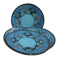 Le Souk Ceramique - Sabrine Saucer - Set of 4 - Set of 4. 5 in. wide. Hand Painted . Hand Made . Dishwasher safe . Microwave safe . Made in Tunisia. Lead free glazes . Meets CA Prop 65 . Meets all Federal StandardsIt seems we've captured the color straight from the sea! Soothing in cool, watery turquoise, our Sabrine pattern represents everything we love about art in pottery. A contemporary take on tradition, Sabrine displays intricate details of the fusion of the Spanish-Moorish art form. With artistic elements of the intersecting arches embellished with spots of color, our Sabrine pattern inspires thoughts of ancient at and architecture in a lavish dinnerware collection.