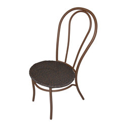 None - Miadera Bistro Mocha Weave Chair (Set of 2) - These sturdy chairs come in a lovely mocha color with a smooth curved back. The chairs are composed of commercial grade tubular steel with an all-weather wicker seat.
