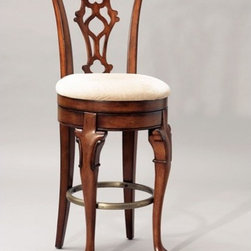 """Powell - Jamestown 30.75"""" Swivel Bar Stool - Made of solid birch, this bar stool gets its inspiration from Queen Anne and Chippendale designs interpreted by American Colonial craftsmen. Along with a swiveling mechanism, it features cabriole front legs with C scroll carving, Chippendale rear legs, a shell back splat, a carved bow top back rail, and an upholstered seat. Finished in a lightly distressed deep cherry. Some assembly required. Features: -Seat height: 30.75"""" .-Lightly distressed deep cherry finish .-Upholstered in beige chenille fabric .-Cabriole front legs with C scroll carving .-Plain tapered Chippendale rear legs .-Carved, pierced tattered shell back splat .-Carved bow top back rail .-Memory self returning swivel mechanism .-Antique brass finished foot rail .-Artificially aged to produce an antique appearance .-Some assembly required .-Suited for Residential Use Only .-1 year warranty against material/workmanship/manufacturing defects .-Dimensions: 47"""" H x 21.25"""" W x 19.5"""" D ."""