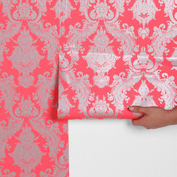 Damsel Wallpaper, Coral - Metallic shine might be the perfect alternative to a classic wallpaper. Here's a shimmery silver option for bold style.