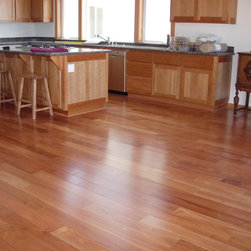 "Brazilian Oak Flooring - Amendoim - Amendoim Hardwood Flooring - 3/4"" x 5"" Prefinished Solid. 3,000 sq ft installation."