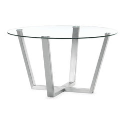 ZUO MODERN - Brush Dining Table Clear Glass - With the Brush dining table's clear circular glass top and stainless steel frame, any space transforms into a more functional and well designed atmosphere.