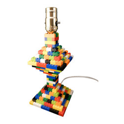 MR Brick Designer - Custom Multi-Color LEGO Table Lamp - With a classic LEGO retro feel, our Multi-Color Lamp will match any decor. Great for a bedside lamp, or a conversation starter in your living room or office. Child or Geek, it's perfect for the LEGO fan in your life.
