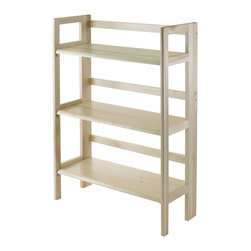 Winsomewood - Shelf, 3-Tier, Foldable, Stackable, KD - This folding shelf comes in three different finishes to match any space. Double stack this shelf to create a wall unit. Use it in the bathroom for your towels, in the kids room for their stuff toys or in an office for books or files. Made of solid beechwood.