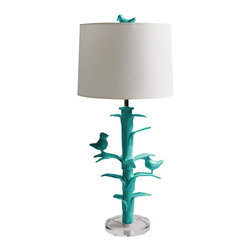 Stray Dog Designs - Stray Dog Designs Sarah Lamp-Bahaman Sea Blue - Two adorable birds chatter in a papier mache tree. Sarah is completely handmade from recycled materials by artisans in Mexico, and she's totally irresistible. Comes with a white paper shade, and can take a 3 way bulb.
