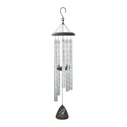 Carson - Carson 44 in. Sonnet Heavenly Bells Wind Chime Black - 60249 - Shop for Windchimes Bells and Gongs from Hayneedle.com! The Carson 44 in. Sonnet Heavenly Bells Wind Chime lets you outfit your screened-in porch patio or well-trafficked window with a pretty polished piece that provides a pleasant melody whenever you pass by. The long chime tubes are patterned with an engraved uplifting spiritual message: These chimes are but the echo/Of the Heavenly Bells above/That rang in celebration/As God welcomed me with love/So when you hear them playing/In the gentle unseen wind/Let them serve as a reminder/We will meet again. The chimes and steadying center are each made from solid aluminum with a powder-coated and anodized finish to prevent rust and scratches from foul weather. Adjust the striker to choose the tone that's most pleasant to your ears. A delicate curved hook and industrial cord supports the unit.About Carson Home AccentsOriginally founded as the Carson Casting Company in 1970 by Harry Carson Sr. today Carson Home Accents is a wholesale manufacturer and distributor of a wide range of gifts garden accents and home decor. Operated by three generations of the Carson family the company continues to craft traditional merchandise made of Statesmetal an aluminum alloy resembling pewter that goes through the time-honored process of sand casting to create one-of-a kind accents that won't chip crack or break. Located in southwestern Pennsylvania Carson Home Accents is a recognized leader in the industry designing creative garden decor wind chimes candle accessories inspirational goods and custom cast metal products.Please note: This manufacturer does not ship to Pennsylvania.