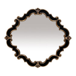 Sterling Industries - Sterling Industries 40-2630M Greferick Medallion Mirror In Gretna Gold And Black - Mirror (1)