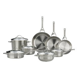 """Calphalon® Contemporary Stainless 13-Piece Cookware Set with Double Bonus - For cooks with an eye for design. Durable, professional-quality pans show off curves and a clean profile finished in a fine satin luster. Tri-ply construction features two layers of stainless steel encasing a full aluminum core for even, consistent heating. Double-riveted cast stainless stay-cool handles are ergonomically designed with rounded ends for comfort. Elegant flared rims allow easy pouring while adding extra strength to """"stress point"""" edges. See-through domed glass lids are heat-tempered for strength with wide, protective stainless steel rims. Set includes bonus Unison 5 qt. Colander ($110.00 value) and bonus Unison Everyday Pan with Lid ($170.00 value)."""