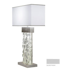 Fine Art Lamps - Crystal Bakehouse River Stone Table Lamp, 824610-24ST - Illuminate your favorite setting with this elegant table lamp. A hand-crafted, polished block of crystal river stones sits in a silvery base beneath a pristine white shade. For contrasting warmth, choose a bronze finish.