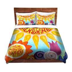 DiaNoche Designs - Duvet Cover Twill - You are my Sunshine Floral - Lightweight and super soft brushed twill Duvet Cover sizes Twin, Queen, King.  This duvet is designed to wash upon arrival for maximum softness.   Each duvet starts by looming the fabric and cutting to the size ordered.  The Image is printed and your Duvet Cover is meticulously sewn together with ties in each corner and a concealed zip closure.  All in the USA!!  Poly top with a Cotton Poly underside.  Dye Sublimation printing permanently adheres the ink to the material for long life and durability. Printed top, cream colored bottom, Machine Washable, Product may vary slightly from image.