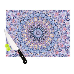 """Kess InHouse - Iris Lehnhardt """"Summer Lace II"""" Circle Purple Cutting Board (11.5"""" x 15.75"""") - These sturdy tempered glass cutting boards will make everything you chop look like a Dutch painting. Perfect the art of cooking with your KESS InHouse unique art cutting board. Go for patterns or painted, either way this non-skid, dishwasher safe cutting board is perfect for preparing any artistic dinner or serving. Cut, chop, serve or frame, all of these unique cutting boards are gorgeous."""