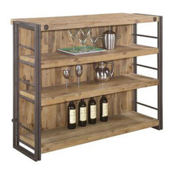 Rugged Bar - Original - Display your fine barware and favored libations on this handsome, rustic home bar. The shelves and back are made from sturdy, solid acacia wood in a natural tone. Metal sides complement the wood and add their own remarkable character.