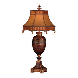 Fine Art Lamps - Brighton Pavillion Table Lamp, 305010ST - Add warmth and light to your favorite setting with this charming table lamp. A scrolling botanical motif done in repoussé plays perfectly with the tassel-fringed shade made of rich dupioni silk.