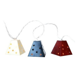 Patriotic Metal Lanterns String Lights - Give your patio a patriotic glow.