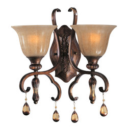 Dresden-Wall Sconce - With Old World charm, Dresden collection's Flemish metalwork in Filbert finish gracefully  curves around a center column of translucent antique glass, and its amber  crystal pendants and candle-like lamps warm the room. Choose classic A-line  shades or frosted Ember glass.