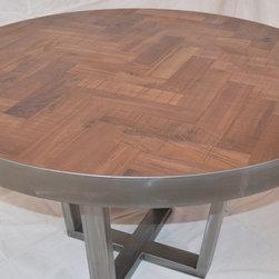 Metal Tree Furniture - Herringbone Dining Table in Walnut and Steel - Walnut and Steel Chevron Style Table