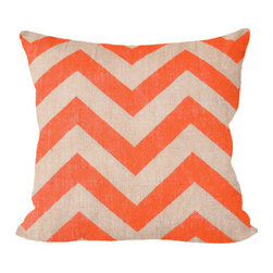 Fiber and Water - Orange Chevron Pillow - Orange Chevron pillow, add a little POP to your sofa. This hand-printed piece of art has beautiful texture from a combination of natural burlap and water-based paints. Hand-pressed onto natural burlap using water-based inks.