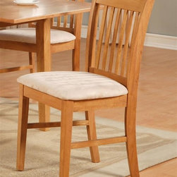East West Furniture - Norfolk Upholstered Dining Chair - Set of 2 - Set of 2. Made from Asian solid wood. Oak finish. Assembly required. 17 in. W x 16 in. D x 35 in. H (28 lbs.)