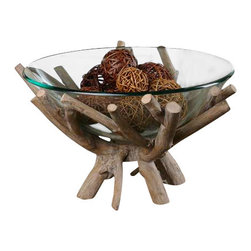 Uttermost Thoro Wood Bowl - Natural wood with a light gray glaze and glass bowl. Natural wood base with a light gray glaze holds a clear glass bowl.