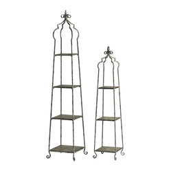 Cyan - Blanca Storage Stands, Set of 2 - Stack your collection of books, photos, vases and other accessories on this set of airy storage stands. The steeple-like towers are purposely aged for an antique look.