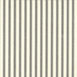"Close to Custom Linens - 18"" California King Bedskirt Tailored Brindle Gray Ticking Stripe - A traditional ticking stripe in brindle gray on a cream background."