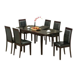 "CBMelrose - 7-Piece Melrose Collection Espresso Finish Wood with Dining Table Set - 7-Piece Melrose collection espresso finish wood with dining table set with butterfly leaf and leather like upholstery on the seats. This set includes the table with tapered legs and 6 side chairs upholstered in a leather like seat and backs. Table measures 36"" x 60"" (78"" with 1 - 18"" leaf included) X 30"" H. Chairs measure 38"" H to the back. Some assembly required."