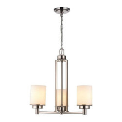World Imports Lighting - 3Lt BN Chandelier White Frosted Glass Shade - Kole 3-Light Brushed Nickel Chandelier with White Frosted Glass Shade