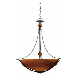 Triarch - Triarch Halogen Vi Pendant Light X-ZB-26492 - Halogen VI - Beautiful Hand-Blown Amber Art glass, set in to warm Oil-Rubbed Bronze, is the key to this stunning look.