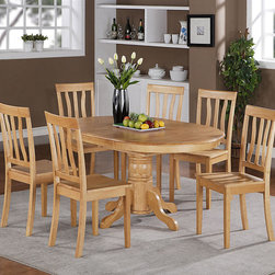 "East West Furniture - 7Pc Avon Oval Dining Set with Single Pedestal and 6 Antique Wood Seat Chairs - 7Pc Avon Oval Dining Set with Single Pedestal with 18"" Butterfly Leaf and 6 Antique Wood Seat Chairs; This EASTON natural tones of This oak dining set complement a variety of styles and tastes.; With a softly rounded edge, the table top brings a delicate ambience to kitchens and dining rooms.; The oval table accommodates at least six chairs, and the pedestal style allows the dining set to fit in a variety of room sizes.; The clean design of the Easton table and chairs lends a sophisticated touch to any room and is subtle but eye catching.; Curved slats make the chairs comfortable and visually appealing.; Weight: 211 lbs; Dimensions: Table: 42-60""L x 42""W x 30""H; Chair: 18""L x 18""W x 38""H"