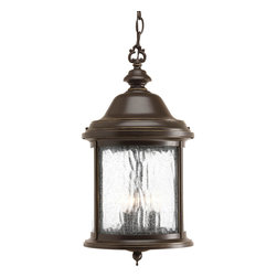 Progress Lighting - Progress Lighting P5550-20 3-Light Hanging Lantern with Water Seeded Glass - Progress Lighting P5550-20 3-Light Hanging Lantern with Water Seeded Glass Curved Panels