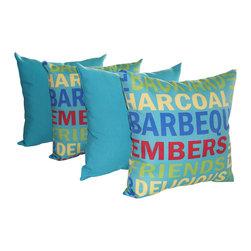 Land of Pillows - Grillin Pool and Fresco Atlantis Turquoise Outdoor Throw Pillow - 4 Pack, 16x16 - Fabric Designer - Richloom Solarium