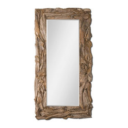 """Matthew Williams - Matthew Williams Teak Root Natural Floor Mirror X-72050 - This stately mirror features a natural, unfinished, sculpted teak root frame. Mirror has a generous 1 1/4"""" bevel. May be hung either horizontal or vertical."""