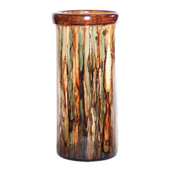 "Couleur - Terra Large Glass Cylinder - Handcrafted by artisan glass blowers the Terra Large Glass Cylinder is a wonderfully decorative and functional art glass accessory.  Because this is made of hand blown glass measurements are approximate - Each item will vary slightly in size and color.Specifications Dimensions: Are approximate because of the handmade nature of this product. (length x width x height) Overall: L 9"" x W 9"" x H 19"" (approximately)Made in: Mexico (MEX)  Style: Room: Living Room, Dining Room, OfficeUse: Decoration Only - Home Accent, Table Top Decor, Wall Decor, Shelf DecorIndoor / Outdoor: IndoorCare: Wipe clean with a soft damp cloth."
