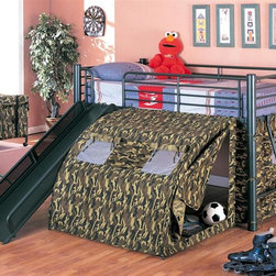 Coaster - Oates Twin Loft Bed w Slide and Tent - It's as good as camping out when you get to sleep in the tent.  Matching camouflage toy chest is available separately.  Its hardy metallic frame will keep your child safe and secure and comes with both a ladder and a plank for accessing the bed.  Matching camouflage toy chest on casters completes your child�۪s room with style.  A bed with a slide AND a tent? * Mattress not included. Twin loft bed. Tubular metal frame. Black metal finish. Attached ladder. Requires twin mattress with slat roll. Casual style. Round tube legs and clean lines. Safety side guard on all sides. Tent covers the opening below the bed. 115.38 in. L x 99.63 in. W x 49.75 in. H. Warranty. Bunk Bed Warning. Please read before purchase.. NOTE: ivgStores DOES NOT offer assembly on loft beds or bunk bedsThis fun loft bed will be a welcome addition to your child's bedroom. Create a cool fort for your little one with this lofted twin size bed. This cool tented bunk bed will quickly become a favorite in any child's home.