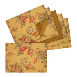 Rose Tree - Amelia Floral Cotton Placemats (Set of 6) - The enriched colors and floral-inspired deign on these Amelia placemats are sure to freshen up the look of your dining setting. These stunning placemats highlight a rectangular shape,and a soft cotton construction.
