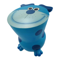 Blue Spotted Puppy Dog Childs Stool Money Bank - This adorable cold cast resin puppy dog child`s stool doubles as a piggy bank. The light blue dog, with dark blue spots, measures 2 inches tall, 10 1/2 inches long and 9 3/4 inches wide. You can add coins to the bank via a slot on the back, and remove them via a pull off stopper on the bottom. The stool is a great addition to your child`s bedroom, and makes a great gift for dog lovers.
