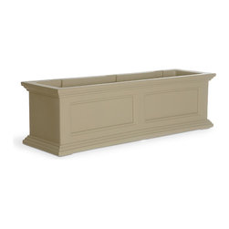 "Mayne Inc. - Fairfield Window Box, Clay, 3 Feet - Why limit your style to the indoors?  Mayne planters will transform your property into a personal retreat with outdoor flair.  Built-in water reservoir encourages healthy plant growth by allowing plants to practically water themselves.  Accent your home with our New England design window boxes.  Our molded plastic planters are made from high-grade polyethylene, double wall design.  Sub-irrigation water system, encourages root growth. Inside dimensions are 32""L x 7.5""W x 8""D, approximately 6.5 gallon soil capacity.  Water reservoir capacity is approximately 3 gallons (11 Liters).  Includes 3 wall mount brackets with a black powder coated finish.  15-year limited warranty."