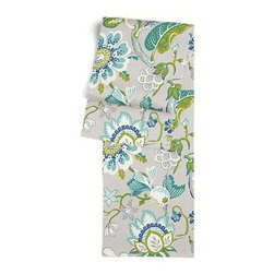 Blue & Gray Whimsical Floral Custom Table Runner - Get ready to dine in style with your new Simple Table Runner. With clean rolled edges and hundreds of fabrics to choose from, it's the perfect centerpiece to the well set table. We love it in this outdoor friendly gray, blue and teal stylized floral.