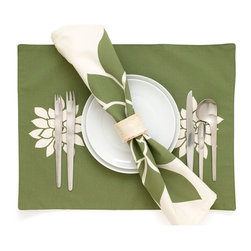 Bloom Modern Eco Floral Placemats - Bring the beauty of the outdoors in with our garden-inspired Bloom modern placemats in gorgeous olive on cream. Perfect for entertaining or just everyday use! The eco friendly placemats coordinate with our Bloom napkins and table runner. The floral placemats also make a great green gifts. Designed, hand printed, and fabricated in America.