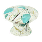 "Pierre Habitat - Mushroom Cabinet Knobs - Make all your home cabinetry ""pop"" with these stylish Mushroom Cabinet knobs from Pierre Habitat. Made with recycled glass that is totally green and sustainable. These pulls not only look good, they are good - for both you and the planet.  Planet-Friendly Hardware designed for you by Pierre Habitat. Sold Single."